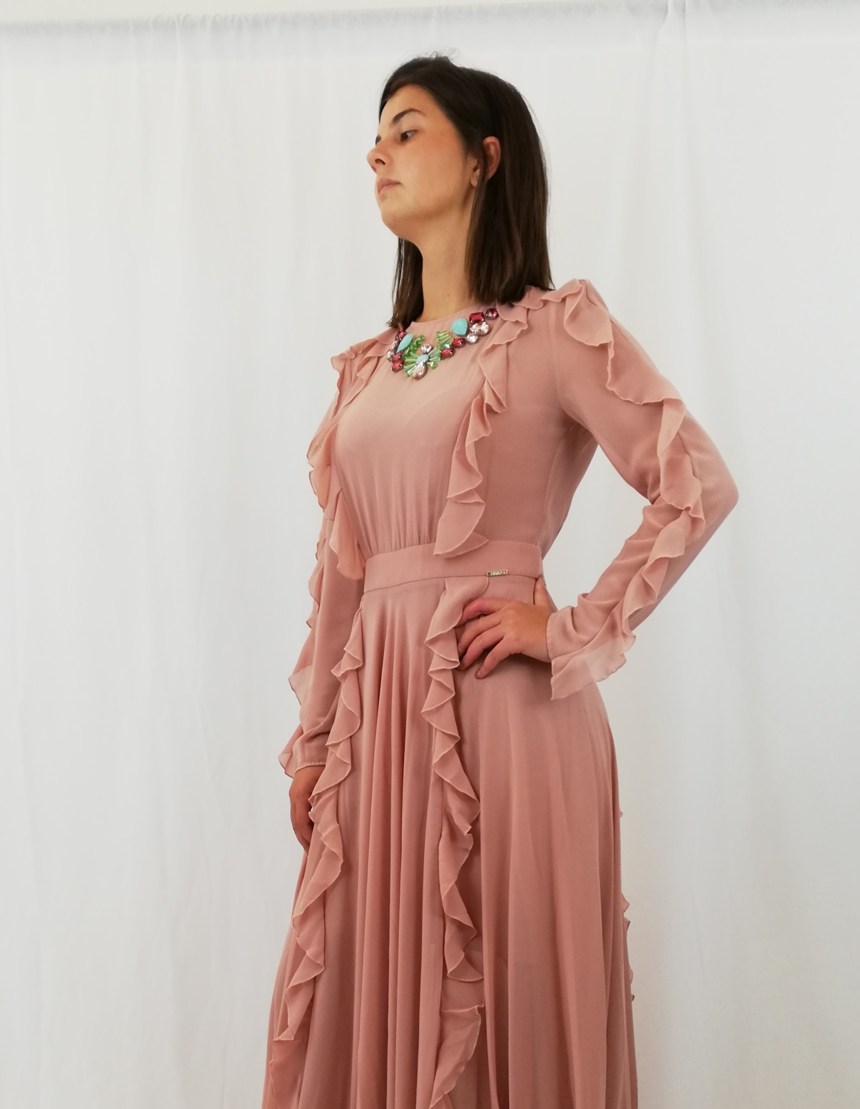 quality design 97733 98625 Long dress with rouge and stones 100% pl Liu Jo